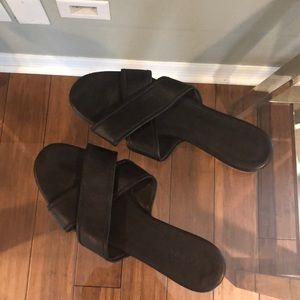 Jcrew black leather sandals